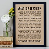 'What Is A Teacher?' Poem Print Vintage Style