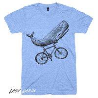 Whale on a Bike T Shirt | Funny Whale Tshirts Bike Tees