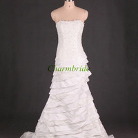 unique multi-layered wedding gowns/ cheap strapless wedding dresses on sale / satin and lace dress for bride /lace-up back bridal dresses