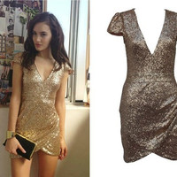 Gold Deep V Cap Sleeve Sequined Bodycon Wrap Mini Dress
