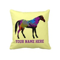 Personalized Race Horse On Yellow Pillows from Zazzle.com
