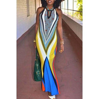 Trendy Colorful Printed Sleeveless Bodycon Maxi Dress For Women