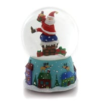 Christmas MUSICAL WATERBALL Glass Santa Chiminy Roof Top J3626 Santa