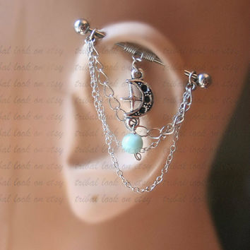 Industrial Barbell, Industrial piercing,  Jewelry, Industrial bar earring, Industrial piercing chain, Blue sky jade Stone and Moon (m2d)