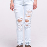 (alq) Super light wash wrinkled and distressed Machine jeans