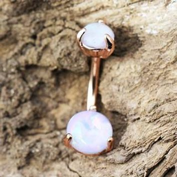 Rose Gold Navel Ring with Prong Set White Synthetic Opal