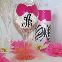 Hand Painted Wine Glass Bow with Initial Pink Bow Painted Wine Glass Perfect for Bridesmaid, Flower Girls, or Birthday