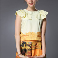 Printed Butterfly Sleeve Top with Pleated Shorts Set