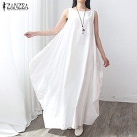 Summer Dress 2017 Women Sleeveless O Neck Sexy Dress Cotton Linen Long Maxi Dresses Casual Loose Retro Solid Vestidos Plus Size