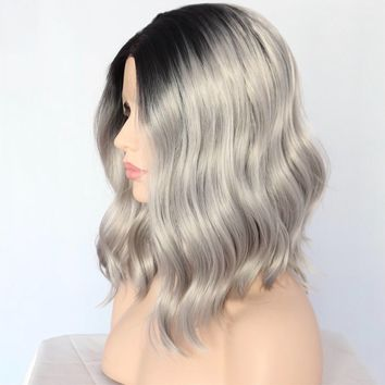 Gabriella- Loose Wave Gray Dark Roots Front Lace Wig