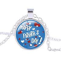 [Happy Father's Day] Necklace Personalized Fathers Day Pendant Jewelry Silver Plated Necklace for Father's Day Gifts