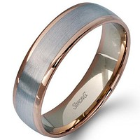 Simon G. Two-Tone Modern Men's Wedding Band