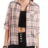 Lace-Back Button-Up Plaid Top by Charlotte Russe