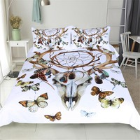 Dream catcher Bedding Set white and Sheep's horn Duvet Cover Watercolor butterfly Bed Set
