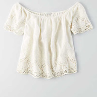 AEO EYELET OFF-THE-SHOULDER TOP