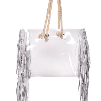 Shopper transparent bag with jute rope clear handbag shopping tote bag oversized bag fringe bag tassels tassles colorfull waterproof tote