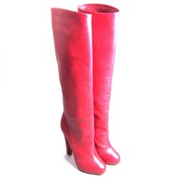KK-CL90450New Christian Louboutin Vicky Botta Red Leather Boots 140 Size 36.5 6