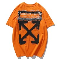Off White New fashion arrow print embroidery letter couple top t-shirt Orange
