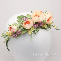 Big floral wreath in peaches and lavenders, wedding hair crown, woodland wedding