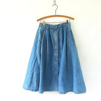 vintage 80s Jean Skirt. Long Denim Skirt with button front. Bohemian Cowgirl.