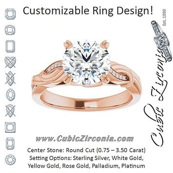 Cubic Zirconia Engagement Ring- The Fabiola (Customizable Cathedral-raised Round Cut Design featuring Rope-Braided Half-Pavé Band)