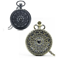 Heart Cut Out Detail Round Pocket Watch - Gunmetal or Bronze