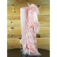 "Nelly B Bank Roll Pink Blush Stretch Furry Pom Pom Knee Boot 5"" High Heels Boots"