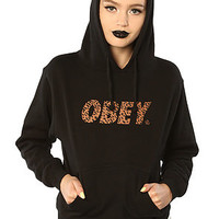 Obey The Obey Cheetah Font Logo Pullover Hoody in BlackExclusive : Karmaloop.com - Global Concrete Culture