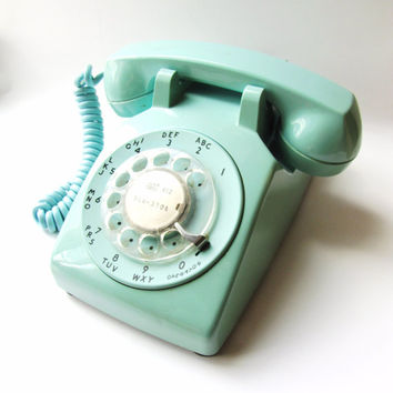 RESERVED FOR JENNIFER-Vintage Telephone. Robin's Egg blue Phone. Rotary phone. Photography prop. Kitsch. Collectible. Itt Stromberg Carlson