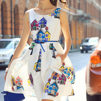 White Sleeveless House Print Flare Dress