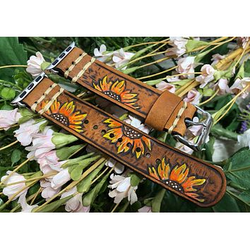 Leather Apple Watch Band with Sunflowers