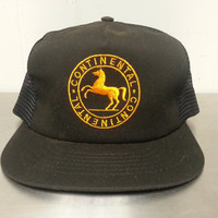 Vintage 90's Continental Train Snapback Black Dad Hat Embroidered Horse Made In USA Made By Swingster