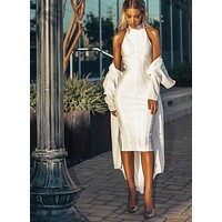 GlamStyle White Bandage Midi Dress