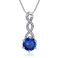 Sterling Silver Twist W. 2.5ct Round Sapphire Pendant Necklace