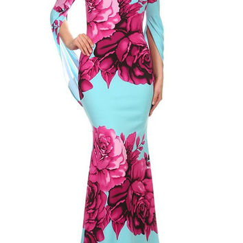 Large Floral Print 3/4 Joined Sleeve Fitted Mermaid Style Maxi Dress D5580BF-7556