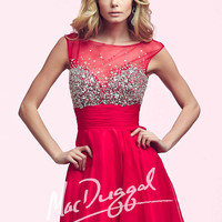 Mac Duggal 64896 - Red Beaded Illusion Homecoming Dresses Online