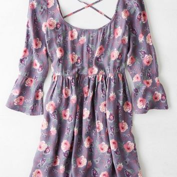 AEO Women's Floral Bell Sleeve Babydoll Dress