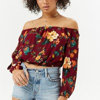Vented Off-the-Shoulder Floral Top