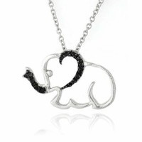 Black Diamond Accent Elephant Necklace, 18""