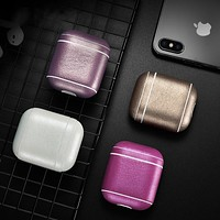 Leather Earphone Case For Apple Airpods Airpod Accessories Dust-proof Protective Cover Bluetooth Headphone Case Waterproof Case