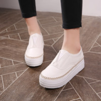 Casual Women Wedges Platform Shoes in White,Black,Silver