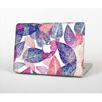 The Seamless Pink & Blue Color Leaves Skin Set for the Apple MacBook Air 13""