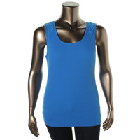 Style & Co. Womens Ribbed Knit Lace Trim Tank Top