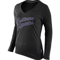 Baltimore Ravens Nike Women's Rewind Script Long Sleeve T-Shirt – Black