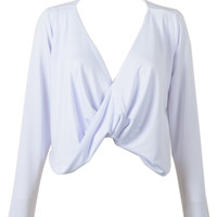 White Twisted Front Long Sleeves Crop Top