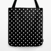 cute, modern, trendy, cool black and white polka dots Tote Bag by PatternWorld