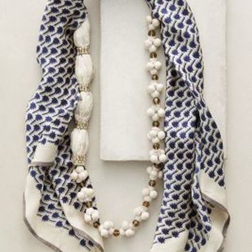 Palms Scarf Necklace by Anthropologie in Navy Size: One Size Necklaces