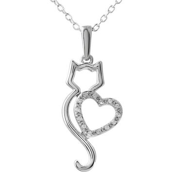 """10kt White .05 CTW Diamond Cat Silhouette with Heart 18"""" Necklace"""