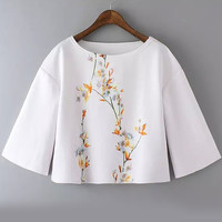 White Bell Sleeve Round Neck Floral Crop Top