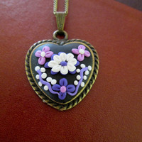 lilac floral necklace,polymer clay pendant,ready to ship jewelry,spring necklace,cameo necklace,multicolor necklace,romantic gift for her